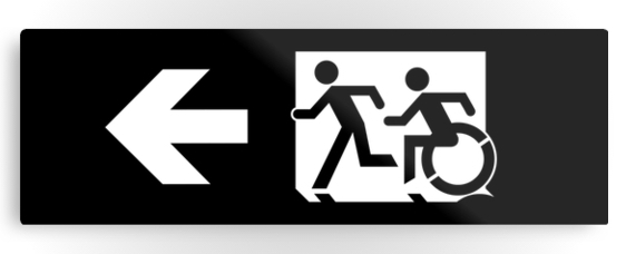 Accessible Means of Egress Icon Exit Sign Wheelchair Wheelie Running Man Symbol by Lee Wilson PWD Disability Evacuation Metal Printed 48