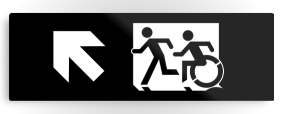 Accessible Means of Egress Icon Exit Sign Wheelchair Wheelie Running Man Symbol by Lee Wilson PWD Disability Evacuation Metal Printed 49