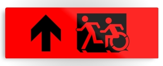 Accessible Means of Egress Icon Exit Sign Wheelchair Wheelie Running Man Symbol by Lee Wilson PWD Disability Evacuation Metal Printed 5