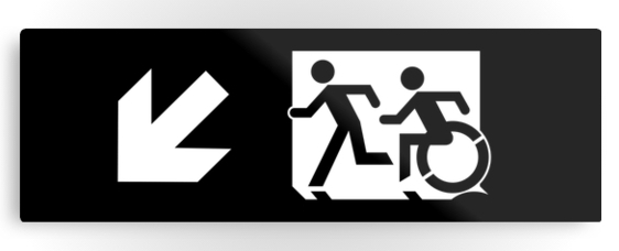 Accessible Means of Egress Icon Exit Sign Wheelchair Wheelie Running Man Symbol by Lee Wilson PWD Disability Evacuation Metal Printed 50