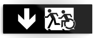 Accessible Means of Egress Icon Exit Sign Wheelchair Wheelie Running Man Symbol by Lee Wilson PWD Disability Evacuation Metal Printed 51