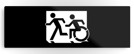 Accessible Means of Egress Icon Exit Sign Wheelchair Wheelie Running Man Symbol by Lee Wilson PWD Disability Evacuation Metal Printed 52