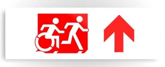 Accessible Means of Egress Icon Exit Sign Wheelchair Wheelie Running Man Symbol by Lee Wilson PWD Disability Evacuation Metal Printed 53
