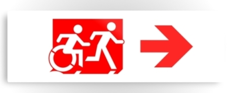 Accessible Means of Egress Icon Exit Sign Wheelchair Wheelie Running Man Symbol by Lee Wilson PWD Disability Evacuation Metal Printed 54