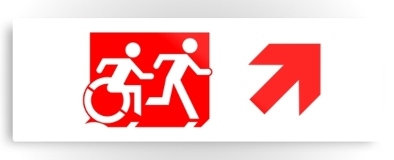 Accessible Means of Egress Icon Exit Sign Wheelchair Wheelie Running Man Symbol by Lee Wilson PWD Disability Evacuation Metal Printed 55