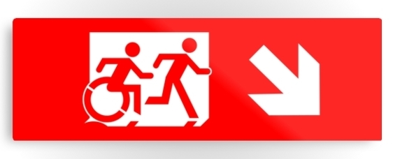 Accessible Means of Egress Icon Exit Sign Wheelchair Wheelie Running Man Symbol by Lee Wilson PWD Disability Evacuation Metal Printed 56