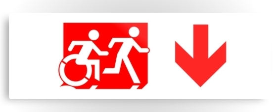 Accessible Means of Egress Icon Exit Sign Wheelchair Wheelie Running Man Symbol by Lee Wilson PWD Disability Evacuation Metal Printed 58