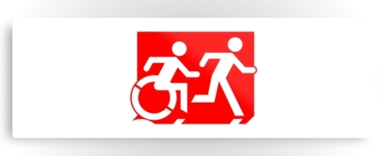 Accessible Means of Egress Icon Exit Sign Wheelchair Wheelie Running Man Symbol by Lee Wilson PWD Disability Evacuation Metal Printed 59