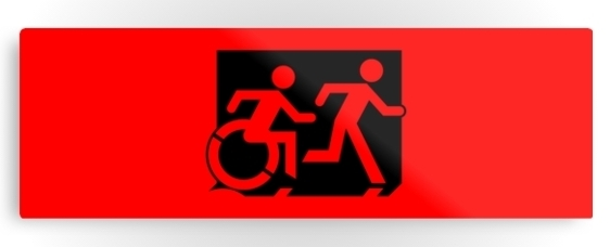 Accessible Means of Egress Icon Exit Sign Wheelchair Wheelie Running Man Symbol by Lee Wilson PWD Disability Evacuation Metal Printed 6