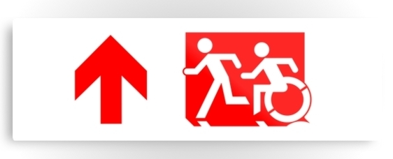 Accessible Means of Egress Icon Exit Sign Wheelchair Wheelie Running Man Symbol by Lee Wilson PWD Disability Evacuation Metal Printed 60