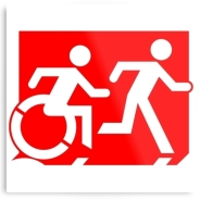 Accessible Means of Egress Icon Exit Sign Wheelchair Wheelie Running Man Symbol by Lee Wilson PWD Disability Evacuation Metal Printed 61