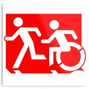 Accessible Means of Egress Icon Exit Sign Wheelchair Wheelie Running Man Symbol by Lee Wilson PWD Disability Evacuation Metal Printed 62