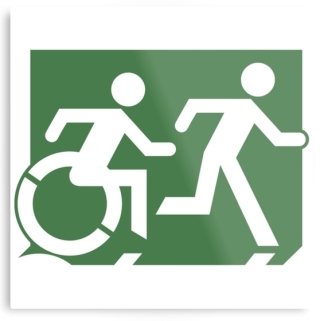 Accessible Means of Egress Icon Exit Sign Wheelchair Wheelie Running Man Symbol by Lee Wilson PWD Disability Evacuation Metal Printed 63