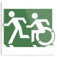 Accessible Means of Egress Icon Exit Sign Wheelchair Wheelie Running Man Symbol by Lee Wilson PWD Disability Evacuation Metal Printed 64