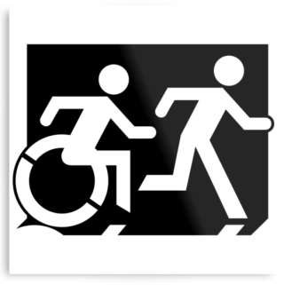 Accessible Means of Egress Icon Exit Sign Wheelchair Wheelie Running Man Symbol by Lee Wilson PWD Disability Evacuation Metal Printed 65