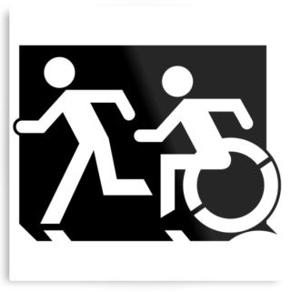 Accessible Means of Egress Icon Exit Sign Wheelchair Wheelie Running Man Symbol by Lee Wilson PWD Disability Evacuation Metal Printed 66