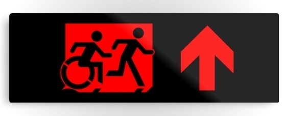 Accessible Means of Egress Icon Exit Sign Wheelchair Wheelie Running Man Symbol by Lee Wilson PWD Disability Evacuation Metal Printed 68