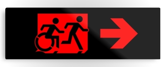 Accessible Means of Egress Icon Exit Sign Wheelchair Wheelie Running Man Symbol by Lee Wilson PWD Disability Evacuation Metal Printed 69