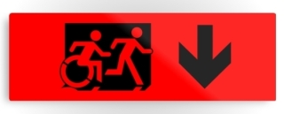 Accessible Means of Egress Icon Exit Sign Wheelchair Wheelie Running Man Symbol by Lee Wilson PWD Disability Evacuation Metal Printed 7