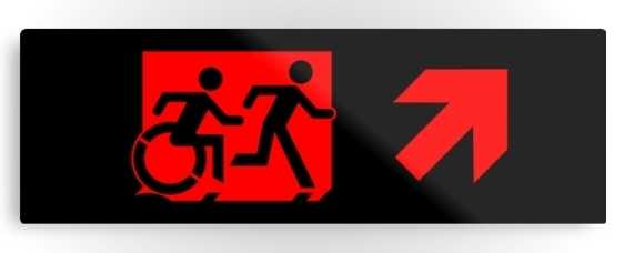 Accessible Means of Egress Icon Exit Sign Wheelchair Wheelie Running Man Symbol by Lee Wilson PWD Disability Evacuation Metal Printed 70