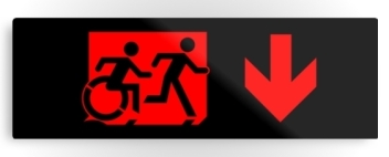 Accessible Means of Egress Icon Exit Sign Wheelchair Wheelie Running Man Symbol by Lee Wilson PWD Disability Evacuation Metal Printed 71