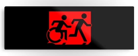 Accessible Means of Egress Icon Exit Sign Wheelchair Wheelie Running Man Symbol by Lee Wilson PWD Disability Evacuation Metal Printed 72