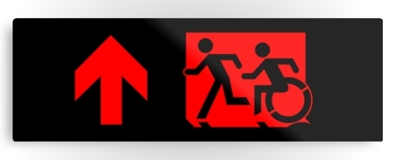 Accessible Means of Egress Icon Exit Sign Wheelchair Wheelie Running Man Symbol by Lee Wilson PWD Disability Evacuation Metal Printed 73