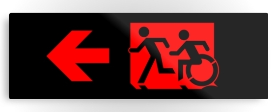 Accessible Means of Egress Icon Exit Sign Wheelchair Wheelie Running Man Symbol by Lee Wilson PWD Disability Evacuation Metal Printed 74