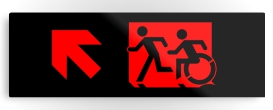 Accessible Means of Egress Icon Exit Sign Wheelchair Wheelie Running Man Symbol by Lee Wilson PWD Disability Evacuation Metal Printed 75