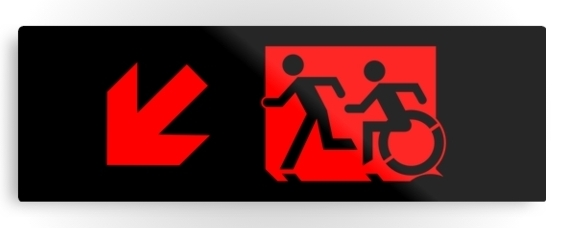 Accessible Means of Egress Icon Exit Sign Wheelchair Wheelie Running Man Symbol by Lee Wilson PWD Disability Evacuation Metal Printed 76