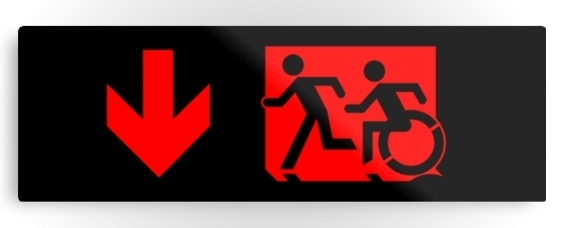 Accessible Means of Egress Icon Exit Sign Wheelchair Wheelie Running Man Symbol by Lee Wilson PWD Disability Evacuation Metal Printed 77