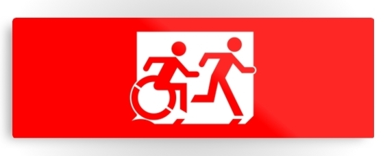 Accessible Means of Egress Icon Exit Sign Wheelchair Wheelie Running Man Symbol by Lee Wilson PWD Disability Evacuation Metal Printed 78