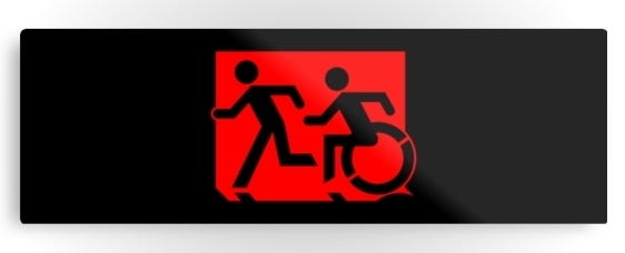 Accessible Means of Egress Icon Exit Sign Wheelchair Wheelie Running Man Symbol by Lee Wilson PWD Disability Evacuation Metal Printed 79