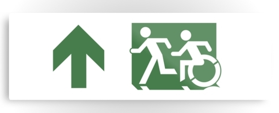 Accessible Means of Egress Icon Exit Sign Wheelchair Wheelie Running Man Symbol by Lee Wilson PWD Disability Evacuation Metal Printed 80