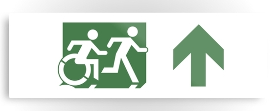 Accessible Means of Egress Icon Exit Sign Wheelchair Wheelie Running Man Symbol by Lee Wilson PWD Disability Evacuation Metal Printed 82