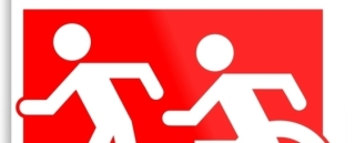 Accessible Means of Egress Icon Exit Sign Wheelchair Wheelie Running Man Symbol by Lee Wilson PWD Disability Evacuation Metal Printed 83