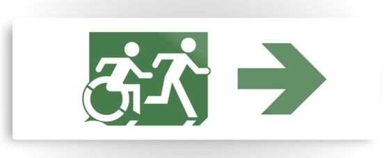 Accessible Means of Egress Icon Exit Sign Wheelchair Wheelie Running Man Symbol by Lee Wilson PWD Disability Evacuation Metal Printed 84