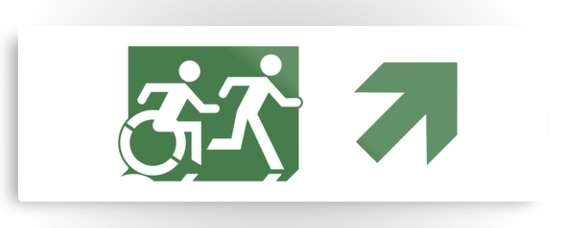 Accessible Means of Egress Icon Exit Sign Wheelchair Wheelie Running Man Symbol by Lee Wilson PWD Disability Evacuation Metal Printed 86