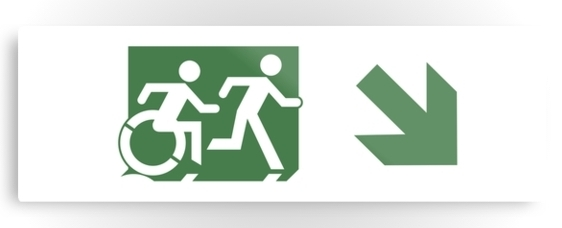 Accessible Means of Egress Icon Exit Sign Wheelchair Wheelie Running Man Symbol by Lee Wilson PWD Disability Evacuation Metal Printed 88