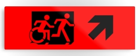 Accessible Means of Egress Icon Exit Sign Wheelchair Wheelie Running Man Symbol by Lee Wilson PWD Disability Evacuation Metal Printed 9