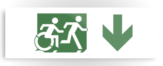 Accessible Means of Egress Icon Exit Sign Wheelchair Wheelie Running Man Symbol by Lee Wilson PWD Disability Evacuation Metal Printed 90