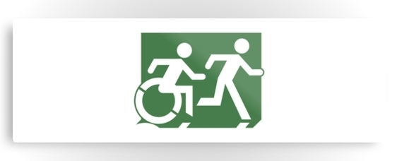 Accessible Means of Egress Icon Exit Sign Wheelchair Wheelie Running Man Symbol by Lee Wilson PWD Disability Evacuation Metal Printed 92