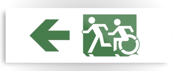Accessible Means of Egress Icon Exit Sign Wheelchair Wheelie Running Man Symbol by Lee Wilson PWD Disability Evacuation Metal Printed 93