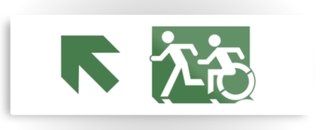 Accessible Means of Egress Icon Exit Sign Wheelchair Wheelie Running Man Symbol by Lee Wilson PWD Disability Evacuation Metal Printed 94