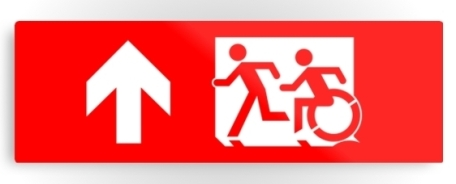 Accessible Means of Egress Icon Exit Sign Wheelchair Wheelie Running Man Symbol by Lee Wilson PWD Disability Evacuation Metal Printed 95