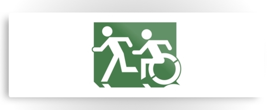 Accessible Means of Egress Icon Exit Sign Wheelchair Wheelie Running Man Symbol by Lee Wilson PWD Disability Evacuation Metal Printed 98