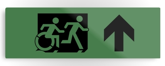 Accessible Means of Egress Icon Exit Sign Wheelchair Wheelie Running Man Symbol by Lee Wilson PWD Disability Evacuation Metal Printed 99