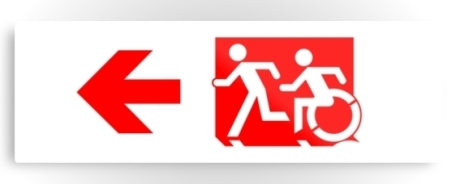 Accessible Means of Egress Icon Exit Sign Wheelchair Wheelie Running Man Symbol by Lee Wilson PWD Disability Evacuation Metal Printed Disability Emergency Evacuation Metal Printed 61