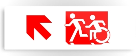 Accessible Means of Egress Icon Exit Sign Wheelchair Wheelie Running Man Symbol by Lee Wilson PWD Disability Evacuation Metal Printed Disability Emergency Evacuation Metal Printed 62