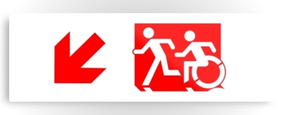 Accessible Means of Egress Icon Exit Sign Wheelchair Wheelie Running Man Symbol by Lee Wilson PWD Disability Evacuation Metal Printed Disability Emergency Evacuation Metal Printed 63